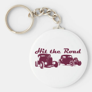 Hit the Road - Hot Rods flat burgundy Basic Round Button Keychain
