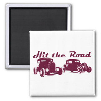 Hit the Road - Hot Rods flat burgundy Magnet