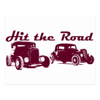 Hit the Road - Hot Rods flat burgundy Postcard