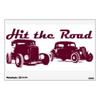 Hit the Road - Hot Rods original artwork. Burgundy Wall Decal