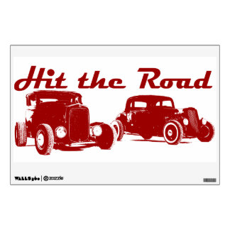 Hit the Road Hot-Rods. Red version Wall Decal