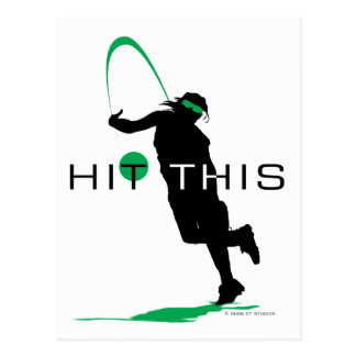 Hit This Green Pitcher Softball Postcard