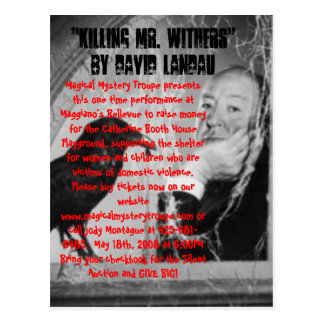 """hitchcock1, """"Killing Mr. Withers""""  by David Lan... Postcard"""