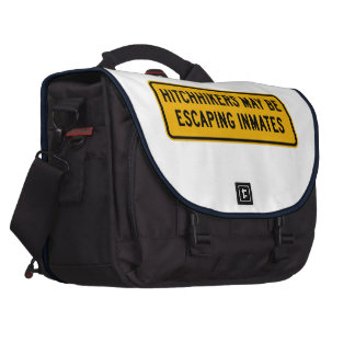 Hitchhikers Might Be Escaping,Traffic Sign, USA Laptop Computer Bag