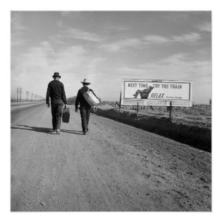 Hitchhikers Outside Los Angeles, 1937 Poster
