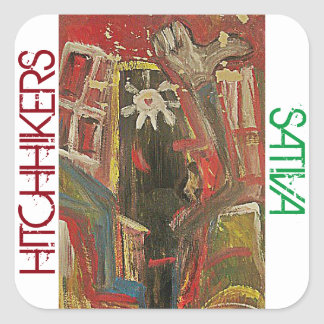 HITCHHIKERS SATIVA SQUARE STICKER