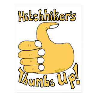 Hitchhiker's Thumbs Up Funny Cartoon Postcard