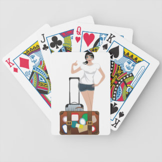 Hitchhiking Girl Bicycle Playing Cards