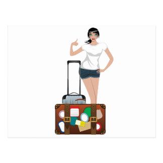 Hitchhiking Girl Postcard