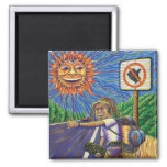 Hitchiking Hobo  2 Inch Square Magnet