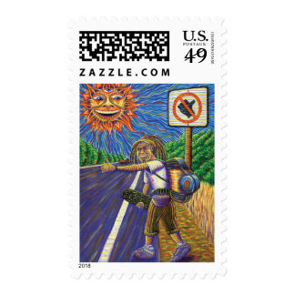 Hitchiking Hobo  Postage Stamp