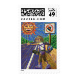 Hitchiking Hobo  Postage Stamp