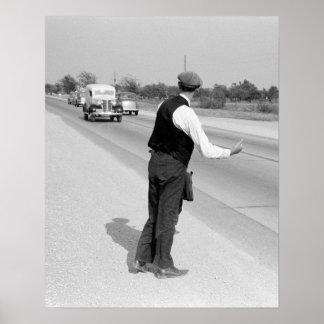 Hitching a Ride, 1939 Print