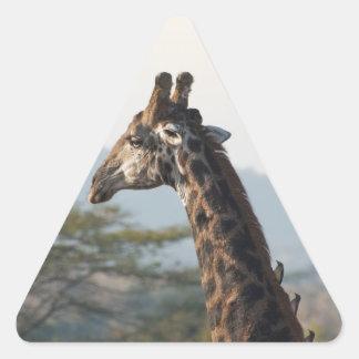Hitching a ride on a giraffe triangle sticker
