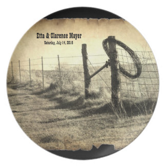 Hitching Post Commemorative WeddingPlate Melamine Plate
