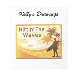 Hittin' The Waves Surfer On The Beach Notepad
