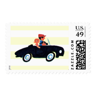Hitting the Open Road 3 Postage Stamps