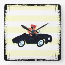 Hitting the Open Road 3 Square Wall Clock