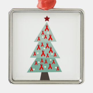 HIV Aids Awareness Christmas Tree Square Metal Christmas Ornament
