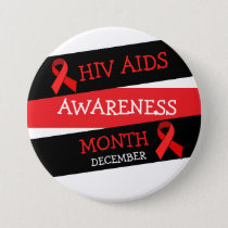 HIV AIDS AWARENESS MONTH December  Button