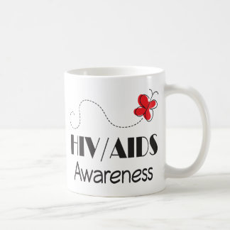 HIV AIDS Awareness Red Butterfly Coffee Mug