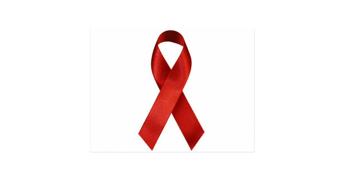 hivaids awareness red ribbon postcard zazzle