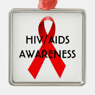 HIV AIDS Awareness Ribbon Square Metal Christmas Ornament