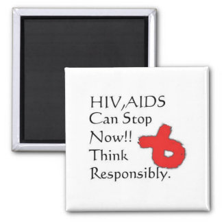 HIV,AIDS Can Be Stopped 2 Inch Square Magnet