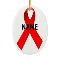 HIV AIDS Custom Christmas Ribbon Ceramic Ornament