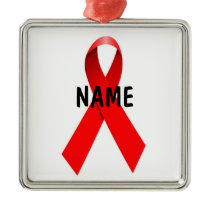 HIV AIDS Custom Christmas Ribbon Metal Ornament