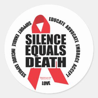 HIV/AIDS: El silencio iguala muerte Pegatina Redonda