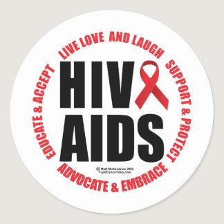 HIV/AIDS Live Love Laugh Classic Round Sticker