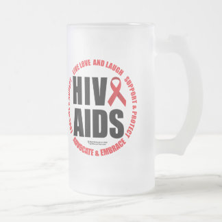 HIV/AIDS Live Love Laugh Frosted Glass Beer Mug