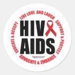 HIV/AIDS Live Love Laugh Round Stickers