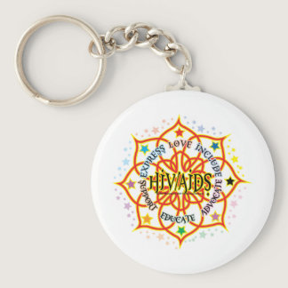 HIV/AIDS Lotus Keychain