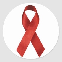 HIV/AIDS Red Ribbon Classic Round Sticker