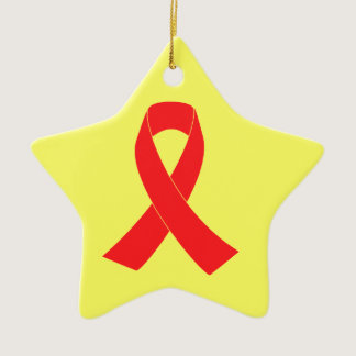 HIV AIDS Ribbon Cancer Awareness Ceramic Ornament