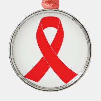 HIV AIDS Ribbon Cancer Awareness Round Metal Christmas Ornament