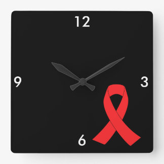HIV AIDS Ribbon Cancer Awareness Square Wall Clock