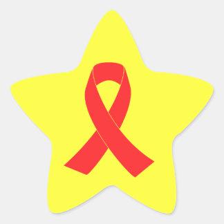 HIV AIDS Ribbon Cancer Awareness Star Sticker