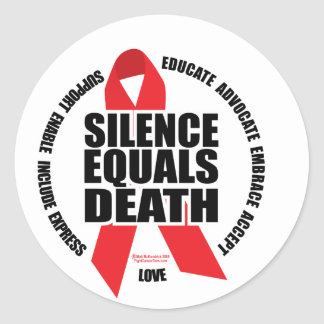 HIV/AIDS: Silence Equals Death Classic Round Sticker