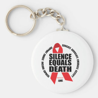 HIV/AIDS: Silence Equals Death Keychain