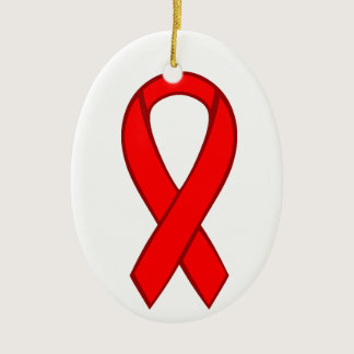 HIV and AIDS Red Awareness Ribbon Ceramic Ornament