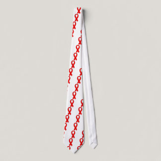 HIV and AIDS Red Awareness Ribbon Neck Tie