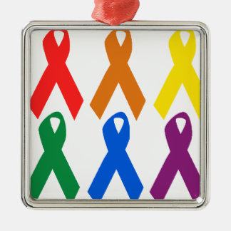HIV AWARENESS / AIDS AWARENESS SQUARE METAL CHRISTMAS ORNAMENT