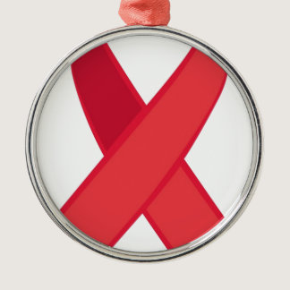 HIV Awareness - Red Ribbon Metal Ornament