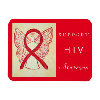 HIV Red Awareness Ribbon Angel Custom Gift Magnets