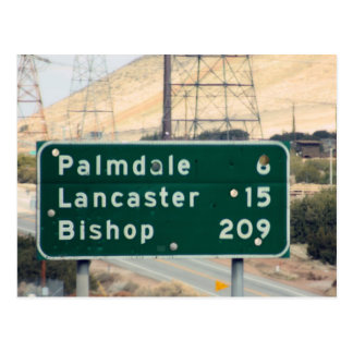 Hiway Sign on CA-18 outside of Palmdale/Lancaster Postcard