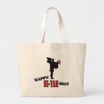 Hiyah-lidays color.jpg large tote bag