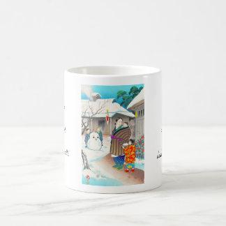 Hiyoshi Mamoru A Snow Man shin hanga winter scene Classic White Coffee Mug